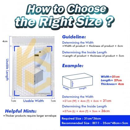 BE02-WT 13*17+4cm White Bubble Envelope Bubble Mailer - 850pcs/Box