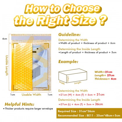 BE04-YL 16*16+4cm Yellow Bubble Envelope Bubble Mailer - 750pcs/Box